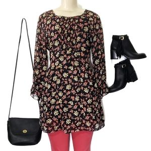 Free People Floral Long Sleeve Sheer Tunic Blouse
